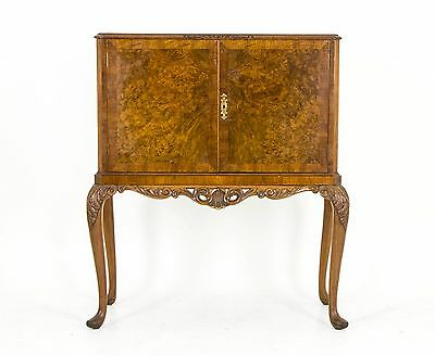 B471 Antique Scottish Burr Walnut Drinks, Cocktail Cabinet, Dry Bar