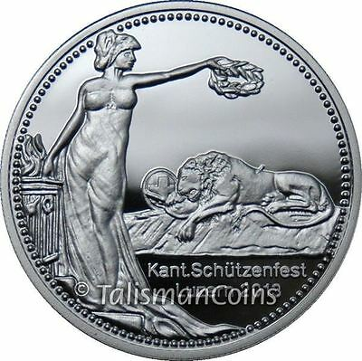 Switzerland 2013 Lucerne Shooting Festival Lion 50 Swiss Francs Thaler Silver Pf