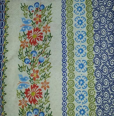 4 x SINGLE PAPER NAPKINS-colorful flowers, FOLKLORE- DECOUPAGE CRAFTS TABLE -15
