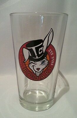 Bogart Pale Ale Beer Pint Bar Glass Cup - Rabbit With Hat - Rare