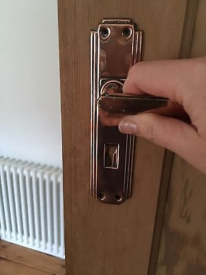 15 x Art Deco Door Handles / 1930's Door Handles - Solid Brass & Copper Plate