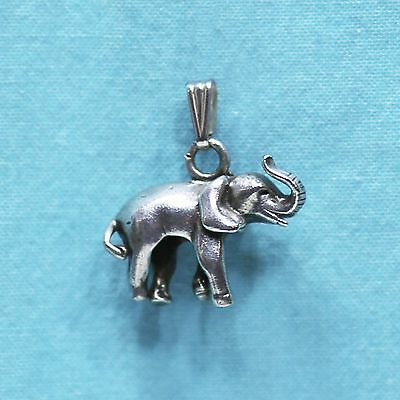 Sterling Silver 925 3D Elephant Cham Pendant