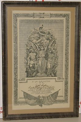 Franklin Booth World War I Cartier French Memorial for US 147th Infantry FRAMED