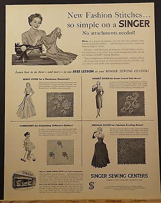 1952 SINGER Sewing Centers New FASHION STITCHES No Attachments Needed Ad
