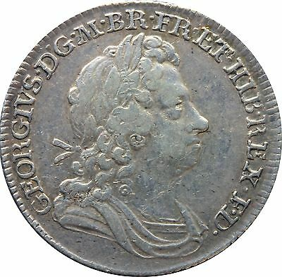 1715 George 1st Shilling Roses & Plumes S-3645 Early Milled (c.1662-1816)