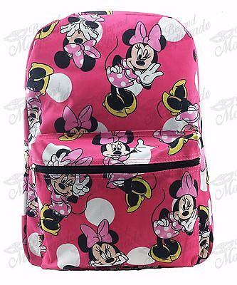 "16"" Disney Minnie Mouse All Print Girls Large School Backpack Pink"