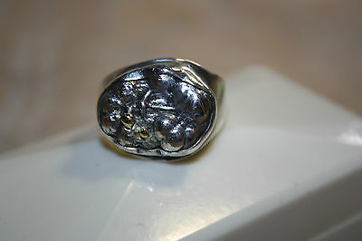 Sterling Silver Custom Ring,  Handmade. Unusual / Unique.  Gold Parts.