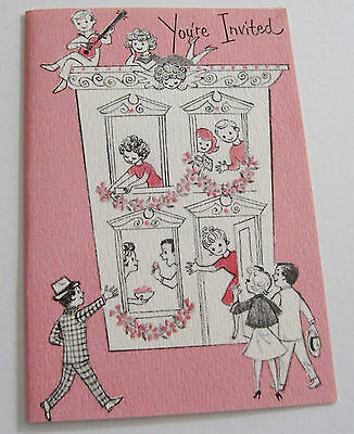 Unused Vtg Little Birthday Invitation People Arriving at House for Party on Pink