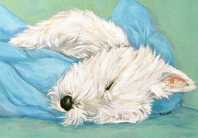West Highland Terrier ACEO WESTIE PRINT Painting ROLLING OUT OF BED Dog RANDALL