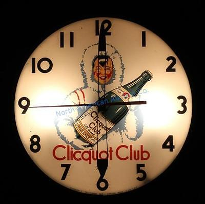 50's Vintage Clicquot Club Lighted Telechron Clock Soda Pop Ginger Ale Sign Pam