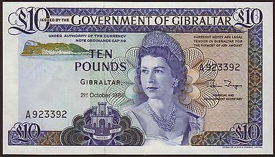 GIBRALTAR  10 Pounds  21.10.1986   UNC