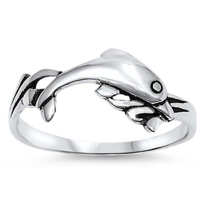 STERLING SILVER 925 Midi Pinky Dolphin Baby Little Girls Ring Size 3 4 5 / F H J