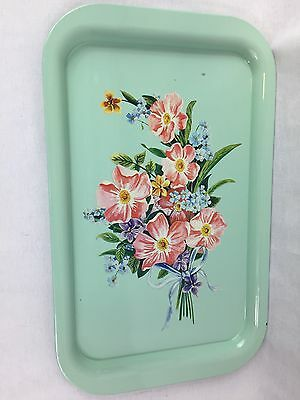 Vintage Metal Serving Tray Mint Green Floral Lap TV Tray