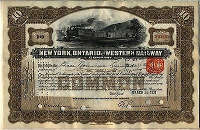 New York Ontario & Western Railway Company Stock Certificate Railroad Brown