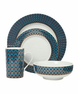 Pied A Terre - Rare 16 Piece Blue Peacock Design Dining Set -Brand New Boxed