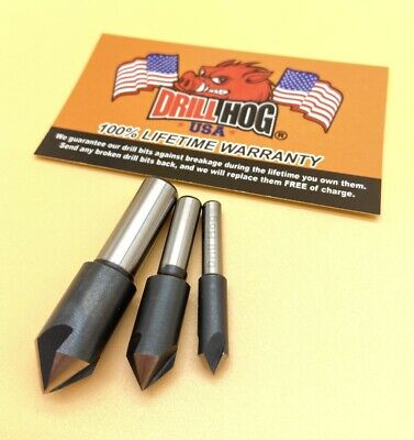 "3 Pc Countersink Set 1/4"", 3/8"", 1/2"" Reamer 3 Flute Cobalt 82° Drill Hog USA"
