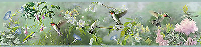 Hummingbirds above the Blooms / Birds Easy Walls Wallpaper Border HTM48531B