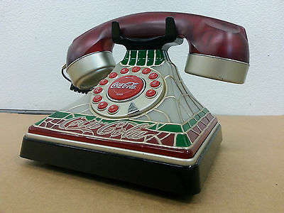 Coca Cola Tiffany Style Stained Glass Look Telephone 2001..