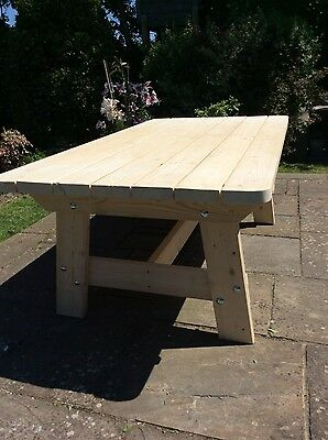 Wooden Garden Furniture Patio Table, Solid, Unique, British, Handmade & Finished