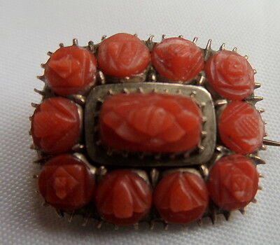 Georgian 9ct Gold and Carved Coral Lace Pin Brooch