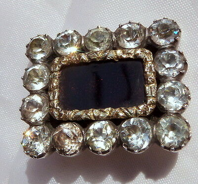 Georgian Silver Gold and Paste Brooch