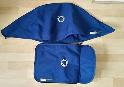 Bugaboo cameleon 1, 2 and 3 navy blue canvas fabric set Hood and apron