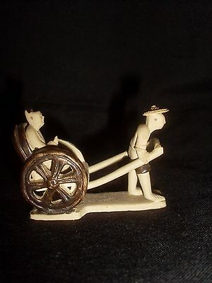 Miniature Chinese Mud Man Rickshaw