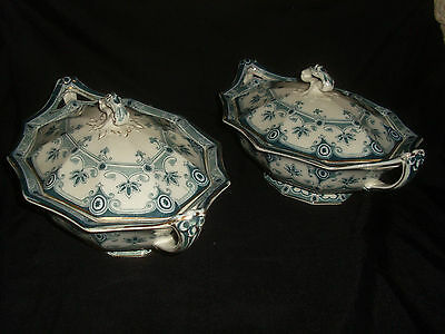 Pair of F & Sons(Ford & Sons) Dudley Burslem Green & White Pottery Tureens