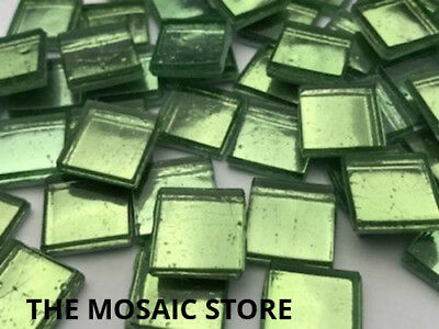 Light Green Metallic Glass Tiles 1.5 cm - Mosaic Tiles Supplies Art Craft