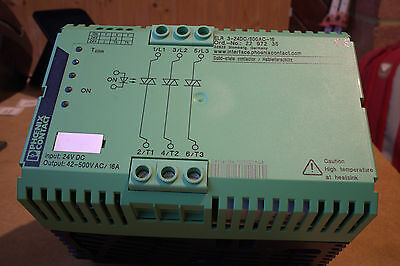 Three phase contactor, 24VDC in, 42-500VAC@16A out, Phoenix ELR 3-24DC/500AC-16