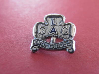 Girl Guides Chrome Blue LA Lapel Badge old style brooch clip