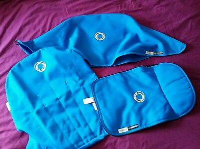 Bugaboo cameleon 1, 2 & 3 blue canvas  fabric set Hood, apron& seat cover ��
