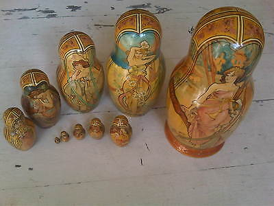 Set of beautiful rare signed, hand painted nesting wooden dolls - 10 pcs. 10""