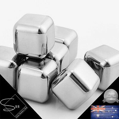 Soirée Stainless Steel Set of 8 Whisky Stones, Ice Rocks, Drink Cooling Pearls