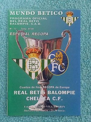 1998 - REAL BETIS v CHELSEA PROGRAMME - CUP WINNERS CUP QUARTER FINAL 1ST LEG