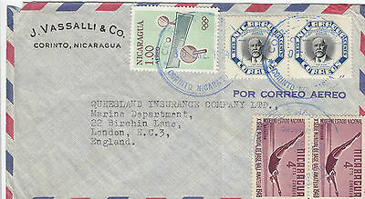 K 1424 Nicaragua Corinto cds 1964 cover airmail to Uk x 5 stamps
