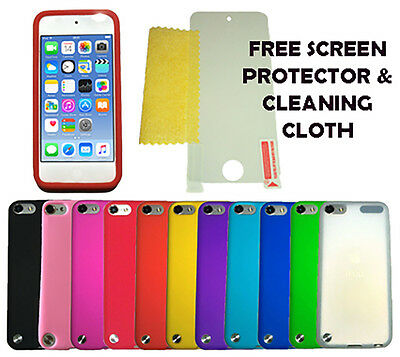 Silicone Case Cover + Screen Protector For Apple iPod Touch 5 & 6 Generation