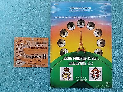 1981 - EUROPEAN CUP FINAL PROGRAMME + MATCH TICKET - REAL MADRID v LIVERPOOL