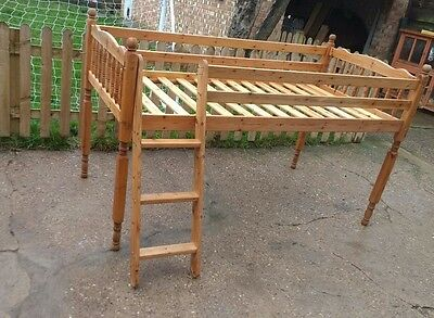 Childs Pine Mid Sleeper Bed (Takes Full Size Mattress)