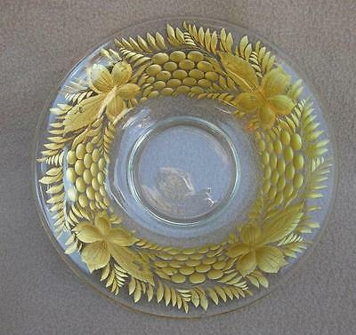 Antique French Baccarat Bohemian Glass Fruit Bowl Intaglio Decorated & Gilded