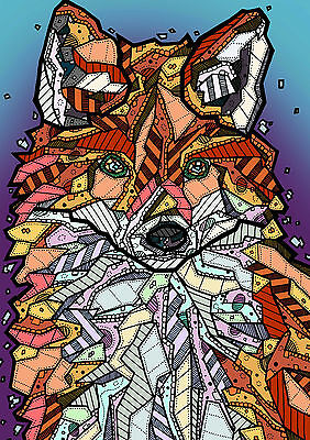 FOX Abstract Surreal Illustration Print Painting Drawing Art SIGNED BY ARTIST