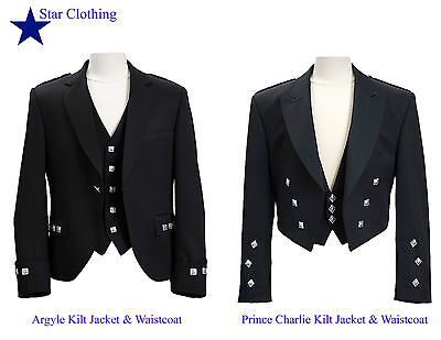 Handmade Scottish Argyle / Prince Charlie kilt Jacket & Waistcoat (All Sizes)