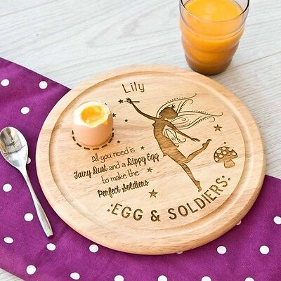 Egg Board Personalised Fairy Round Chopping Board/Plate Single Egg Cup
