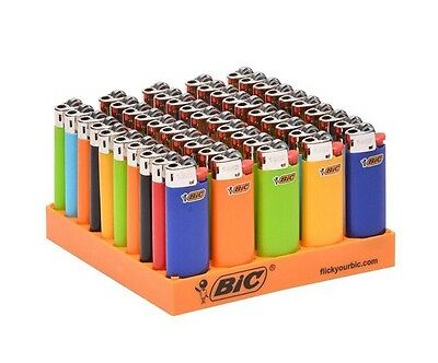 50 BIC Classic Small Size Disposable Lighters W Tray Assorted Colors US Seller