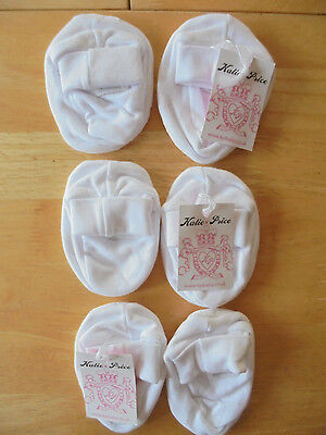 SET OF 3 KATIE PRICE BABY BOOTEES WHITE NEW (ref 163)