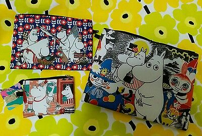 Moomin Characters (Moomintroll 2 Faces) Nylon Zipper Case 3 pieces set A