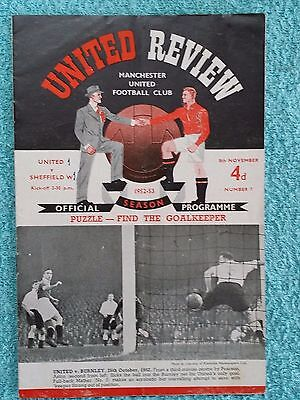 1952 - MANCHESTER UTD v SHEFFIELD WEDNESDAY PROGRAMME - FIRST DIVISION