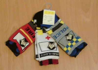 New 3 pairs three pack socks 12-24 month emergency vehicles police fire rescue