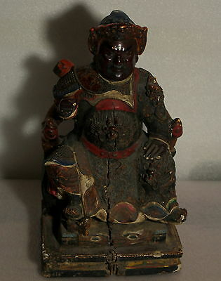 MUSEAL ANTIK HOLZ FIGUR HAND GEMALT CHINA General ARMY Ming-Dynastie 16/17 Th