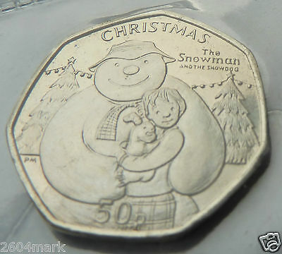 2014 UNC ISLE of MAN MANX CHRISTMAS 50p THE SNOWMAN, BILLY & THE SNOWDOG